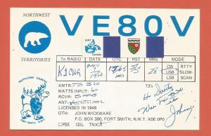 QSL AMATEUR RADIO CARD – FORT SMITH, NORTHWEST TERRITORIES, CANADA – 1980