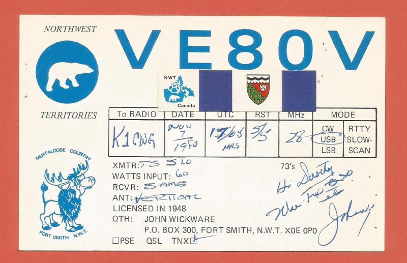 QSL AMATEUR RADIO CARD – FORT SMITH, NORTHWEST TERRITORIES, CANADA – 1980