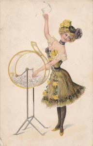 Woman wearing flirty yellow dress, yellow roses in he hair, Raffle Wheel, 00-10s