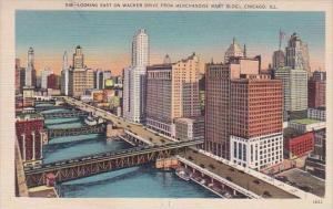 Illinois Chicago Looking East On Wacker Drive From Merchandise Mart Building
