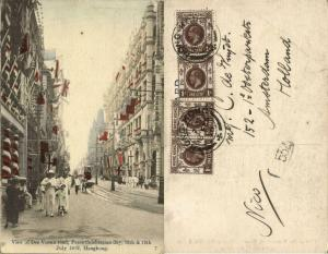 china, HONG KONG, Des Voeux Road, Peace Celebration Day July 1919 Postcard