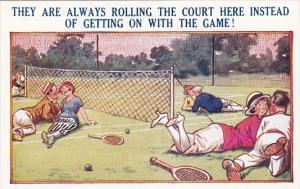 Bamforth Tennis Comics Couple Relaxing On Tennis Courts
