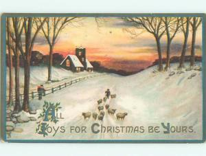 Divided-Back CHRISTMAS SCENE Great Postcard W9386
