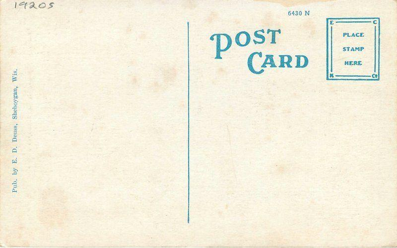 Deuss Flag 1920s Sheboygan Wisconsin Security National Bank postcard 10596