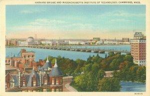 Harvard Bridge and MIT, Massachusetts Vintage Linen Curteich Postcard