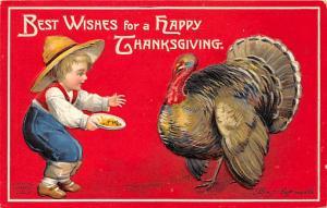 Thanksgiving, Ellen H Clapsaddle Postcard Writing on back