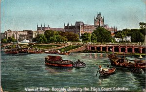 River Hooghly High Court Calcutta India Postcard used 1905 to Limerick Ireland
