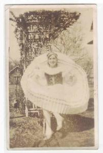 Young Woman in Ruffle Skirt Dress Ethnic RPPC Real Photo postcard