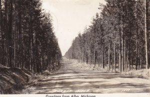 Michigan Alba Greetings Showing Forest Aisle 1947 Real Photo