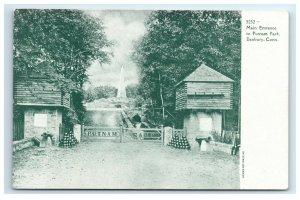 Postcard Main Entrance to Putnam Park, Danbury, Conn CT c1901-1907 F41