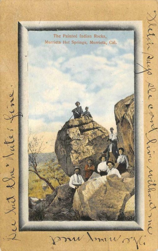 The Painted Indian Rocks MURRIETA HOT SPRINGS, CA 1912 Vintage Postcard