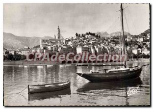 Postcard Moderne Menton Old Town View From Port