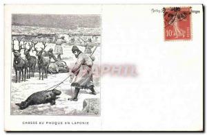 Old Postcard Seal Hunt in Lapland Polar Elan