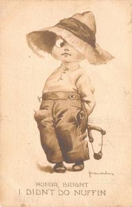 Bernhardt Wall~Honor Bright~Boy WIth Slingshot Didn't Do Nuffin~Gibson Art Co
