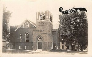 Ogden Iowa~Methodist Episcopal ME Church~House Down Street~1914 Real Photo~RPPC