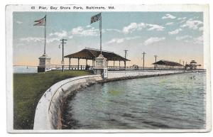 Baltimore MD Bay Shore Park The Pier Vintage Postcard