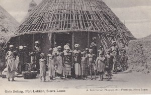 SIERRA LEONE, Africa, 1910-1920s; Topless Girls Selling Port Lokkoh