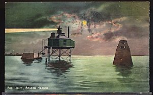 USA Postcard Bug Lighthouse Boston Harbor Flag Cancel 1911