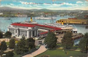 Canada C. P. R. Landing Place Victoria B. C. Harbour Boats Bridge Postcard
