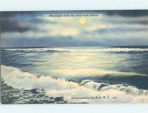 Linen WAVES ALONG SHORELINE Wildwood New Jersey NJ AD6748