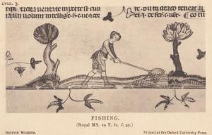 Medieval Fishing Sport Fisherman Fisherlady Antique Postcard