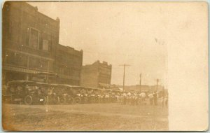 1910s RPPC Real Photo Postcard Main Street Downtown Scene / Cars Automobiles