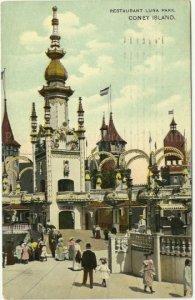 Coney Island New York Vintage Postcard Restaurant in Luna Park 1908 childhood