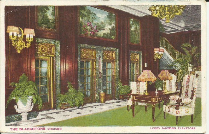 Chicago, Illinois, The Blackstone, Lobby Showing Elevators