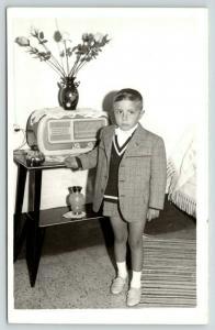 RPPC~Boy w/Suit Coat~Matching Shorts~Nice 1940s Art Deco Tabletop Radio~Ashtray