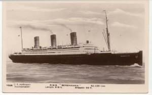 Shipping; Cunard RMS Berengaria No 1028 RP PPC, Unused