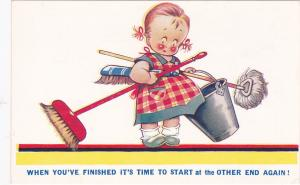 Girl carrying cleaning equipment, When you've finished it's time to start at th