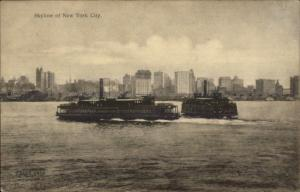 New York City Ferry Boats Steamers Jersey City c1910 Unused Postcard