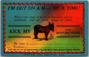 KERKHOVEN, Minnesota Comic Linen Postcard I'm Out on a H--- of a Time! c1950s