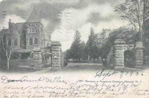 Entrance to Fairmount Cemetery, Newark, New Jersey, Early Postcard, Used in 1906