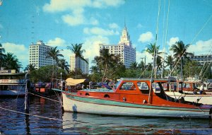 Florida Miami City Yacht Basin With Biscayne Boulevard Hotels In Background 1957