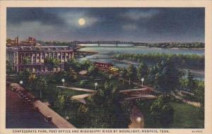 Tennesse Memphis Confederate Park Post Office And Mississippi River By Moonli...