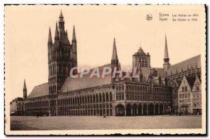 Old Postcard Ypres Les Halles in 1914