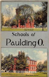 D55/ Paulding Ohio Postcard c1910 2View Schools of Paulding High West Side