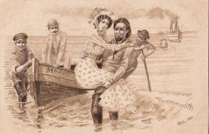 Early 1900s drawn postcard lifeboat Mowe ship gentleman novelty ( crease )