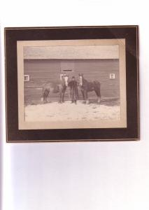 Man in Fur Coat with Two Horses in Front of Barn, Vintage Thick Card Photo,