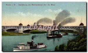 Old Postcard Minden Überführung of Mittellandkanal Uber die Weser Yacht