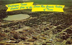 Harlingen TX~Aerial Vw: Railroad Depot~Downtown~Reservoir 1976 Banner Greetings