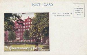 LONDON , England , 1901-07; The Charterhouse Hotel from the Garden