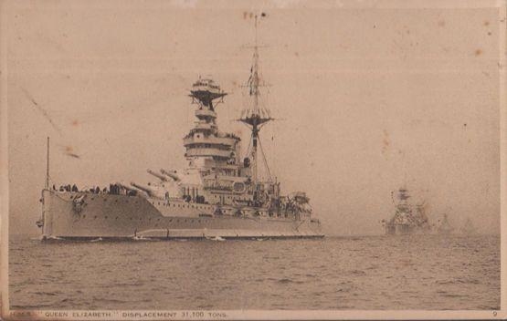 HMS Queen Elizabeth Displacement Weight Antique Postcard