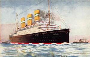 Dutch Royal Mail Holland America Line SS Statendam ship Postcard