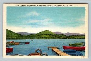 Roanoke VA, Carvin's Cove Lake, Water Sports, Linen Virginia Postcard
