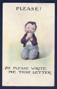 Please Oh Please Write Boy Praying Crying unused c1910's
