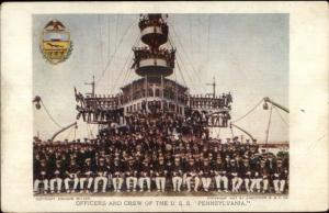 1907 Jamestown Expo #92 USS Pennsylvania Crew Amoss MD Cancel Postcard