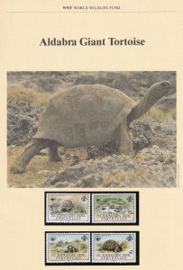 Giant Tortoise Aladabra Seychelles WWF Stamps and Set Of 4 First Day Cover Bu...