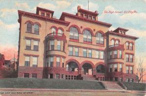 Oil City Pennsylvania High School Street View Antique Postcard K51528